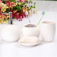 4-Piece Dimpled Ceramic Bathroom Accessory Set