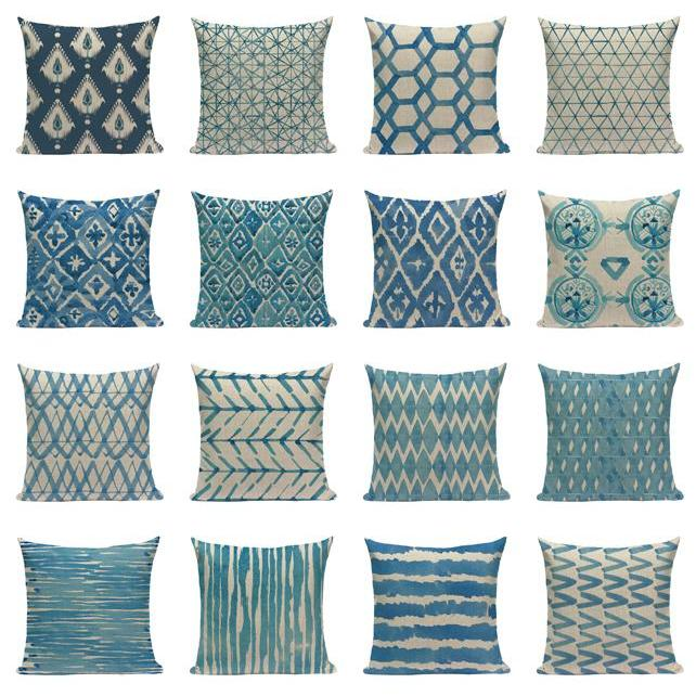 "18"" Blue Abstract Watercolor Pattern Throw Pillow Cover"