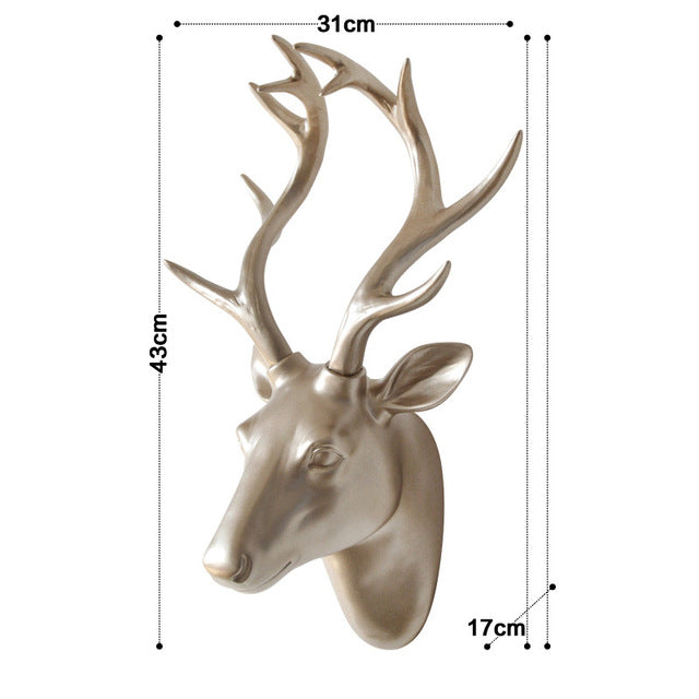 "17"" Wall-Mounted Modern Resin Deer Head Sculpture"