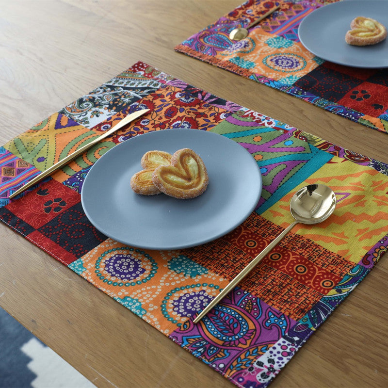 4-Piece Multi-Color Bohemian Pattern Table Placemat Set
