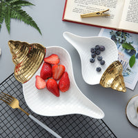 White / Gold Ceramic Shell-Shaped Candy Dessert Tray Dish