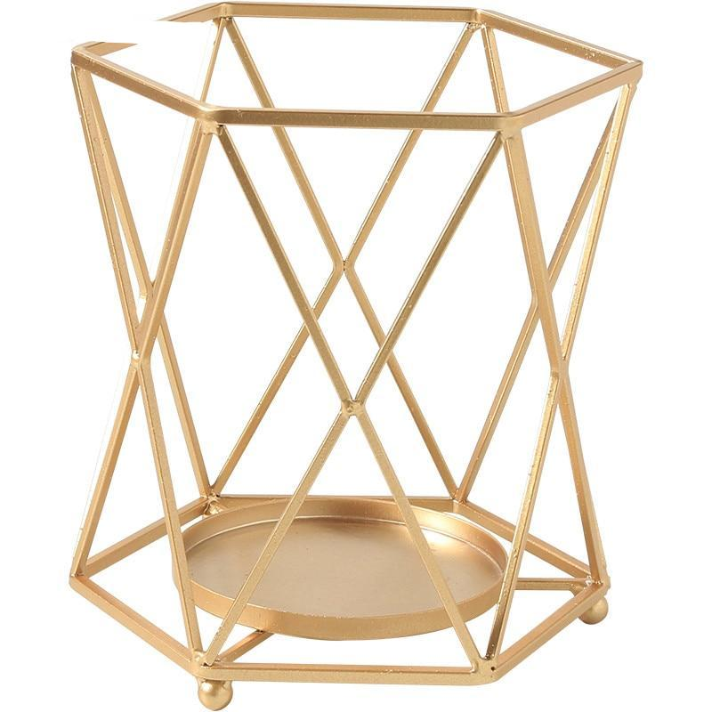 Gold Concave Hexagon Metal Candle Holder