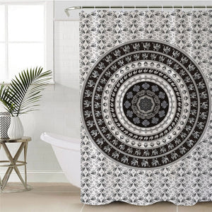 Black & White Boho Mandala Bathroom Shower Curtain