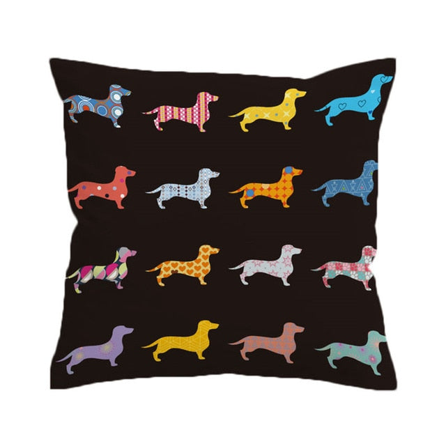 Dachshund Wiener Dog Pattern Microfiber Pillow Cover