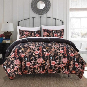 Black 2/3-Piece Wild Flower Print Duvet Cover Set