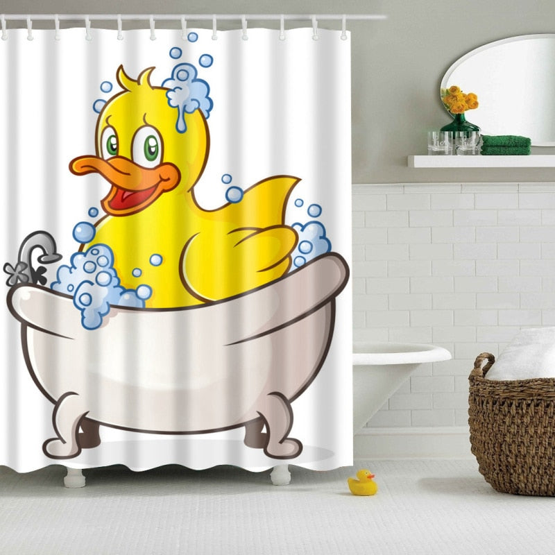 Kids Rubber Ducky Print Bathroom Shower Curtain