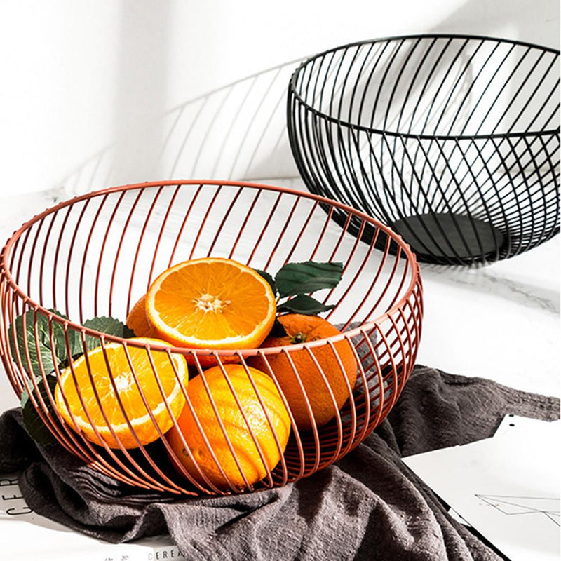 Contemporary Round Metal Wire Storage Basket Bowl