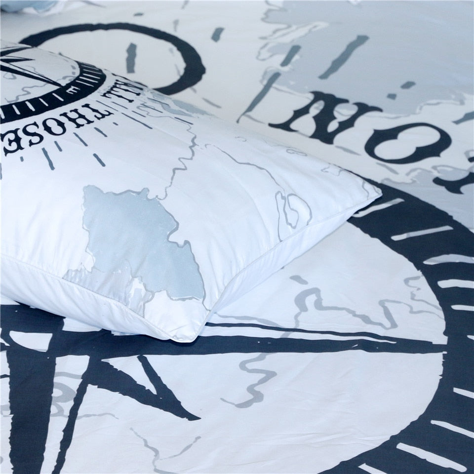 3-Piece Nautical Wandering Compass Duvet Cover Set