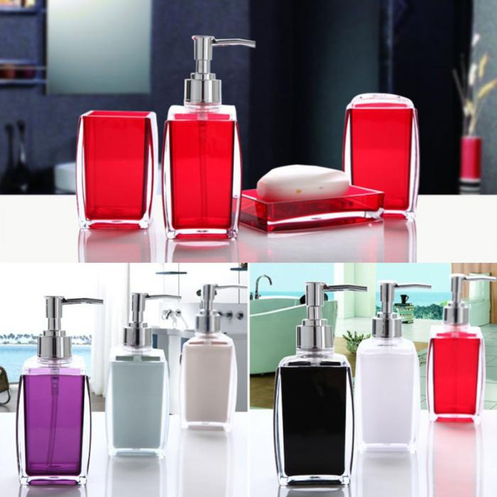 4-Piece Transparent Colored Acrylic Bathroom Accessory Set