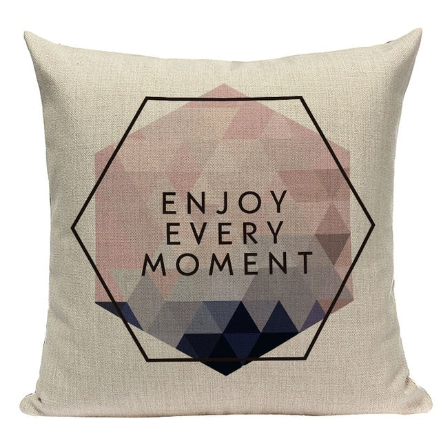 "18"" Pink / Blue Nordic Geometric Elements Pillow Cover"