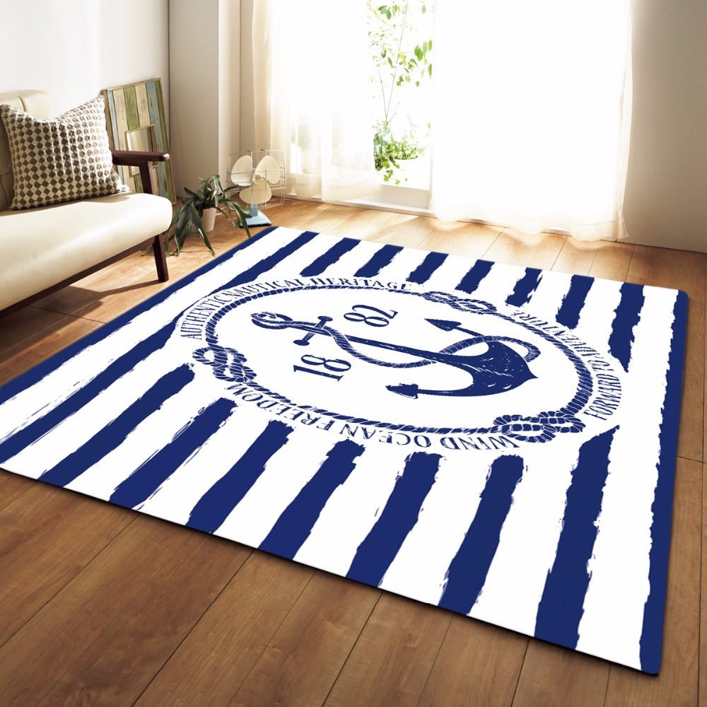 Nautical Heritage Anchor Print Area Rug Floor Mat