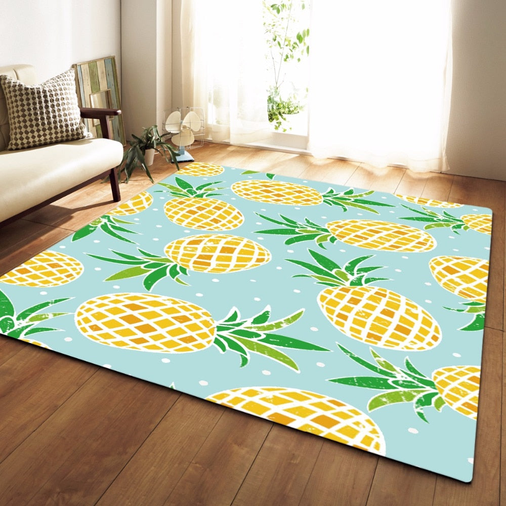 Teal Pineapple Print Area Rug Floor Mat