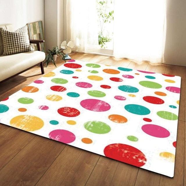 Rainbow Polka Dot Print Area Rug Floor Mat