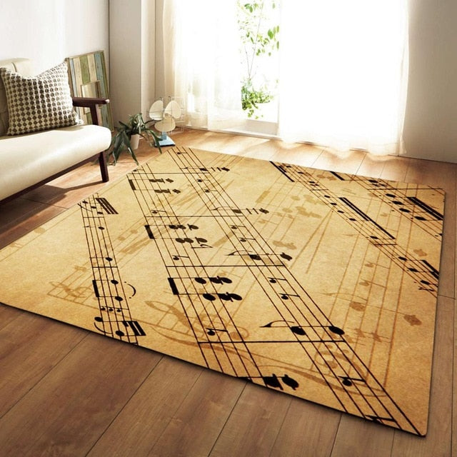 Vintage Musical Note Print Area Rug Floor Mat