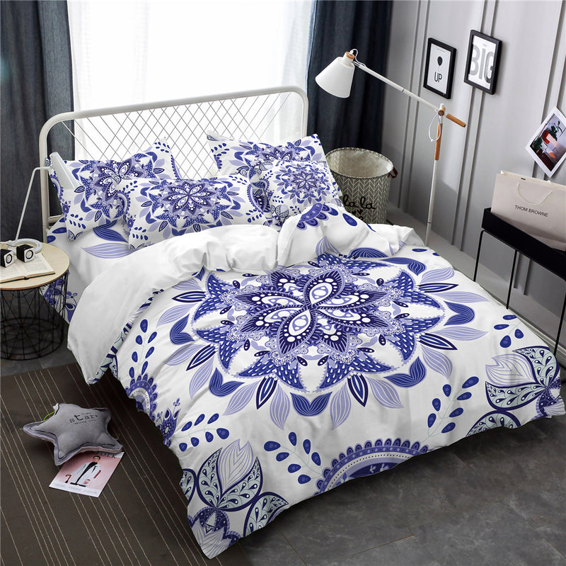 Blue & White 3-Piece Floral Mandala Duvet Bedding Set