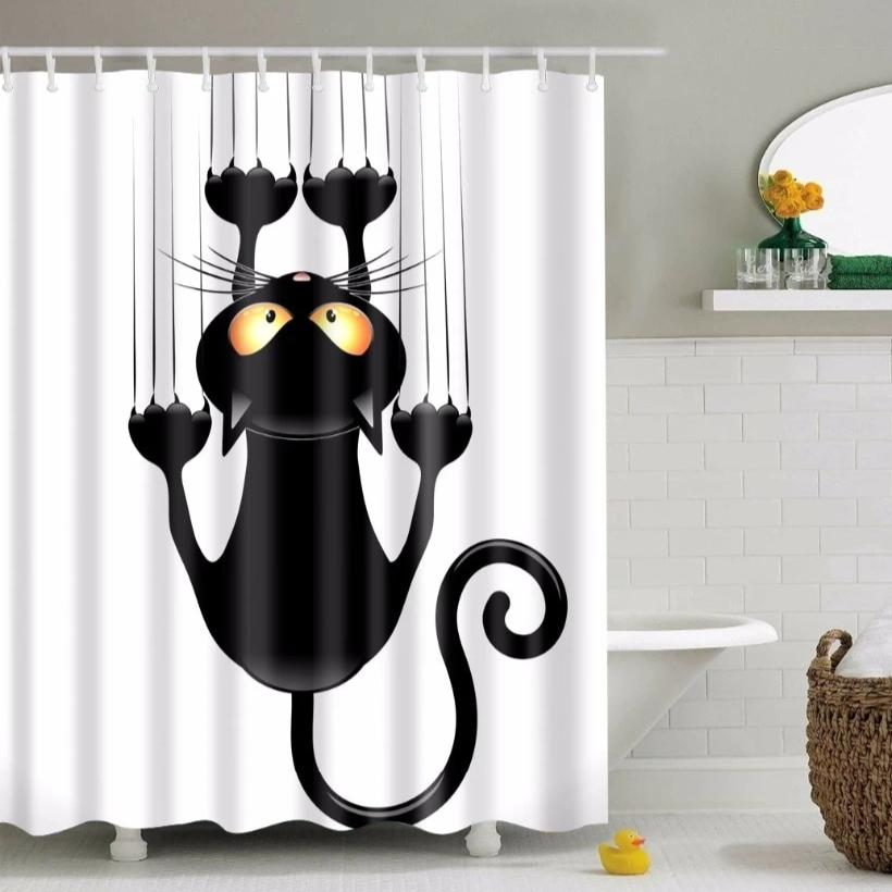 White Scratching Cartoon Cat Bathroom Shower Curtain