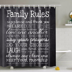 Black Polyester Family Rules Print Shower Curtain