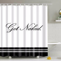 Black & White Get Naked Bathroom Shower Curtain