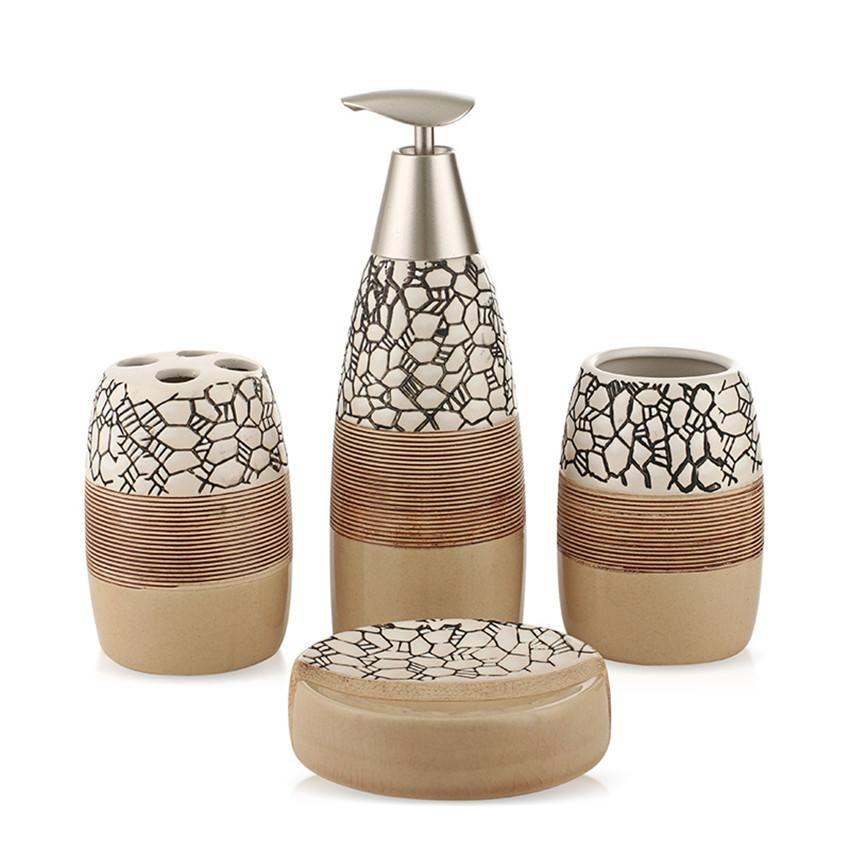 4-Piece Ceramic Stone Pattern Bathroom Accessory Set