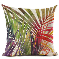 "18"" Tropical Palm Leaf Print Throw Pillow Cover"