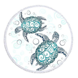 Round Native Pattern Sea Turtle Beach Towel