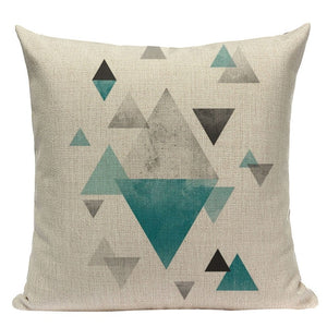 "18"" Green / Gold Nordic Geometric Elements Pillow Cover"