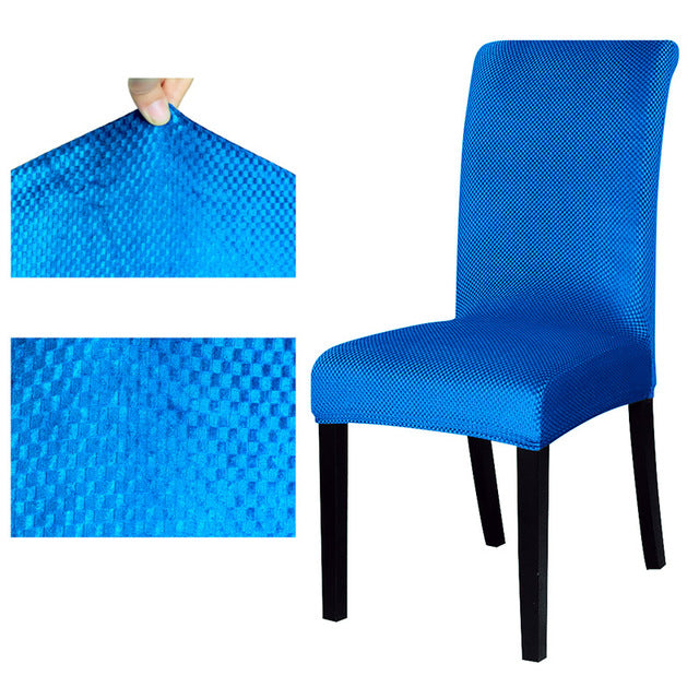 Solid Textured Jacquard Pattern Dining Chair Cover