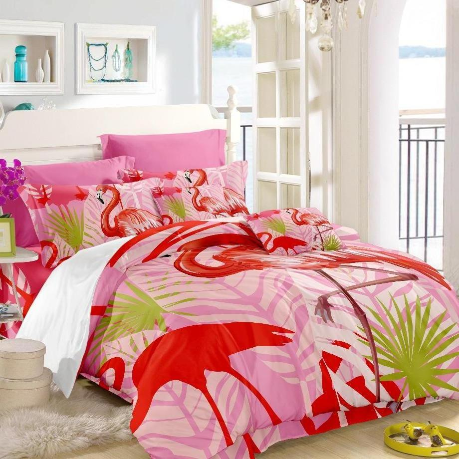 3-Piece Pink Flamingo Print Duvet Cover Bedding Set