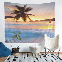 Scenic Ocean Beach Sunset Wall Tapestry