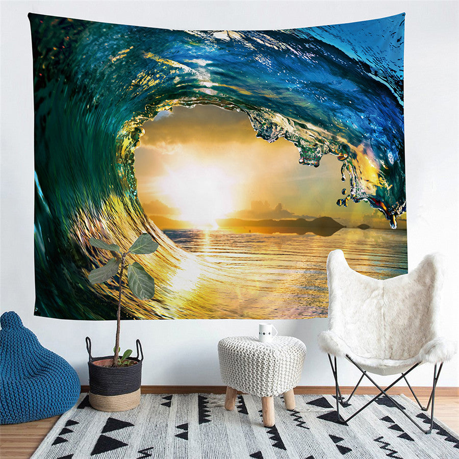 Blue Ocean Wave Print Wall Tapestry