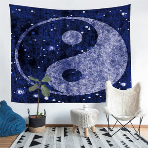 Blue Cosmic Space Yin-Yang Print Wall Tapestry