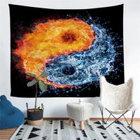 Black Water & Fire Yin-Yang Print Wall Tapestry