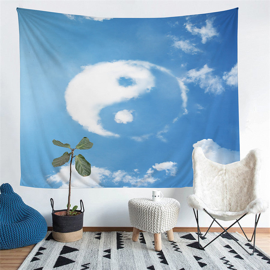 Sky Blue Yin-Yang Cloud Print Wall Tapestry