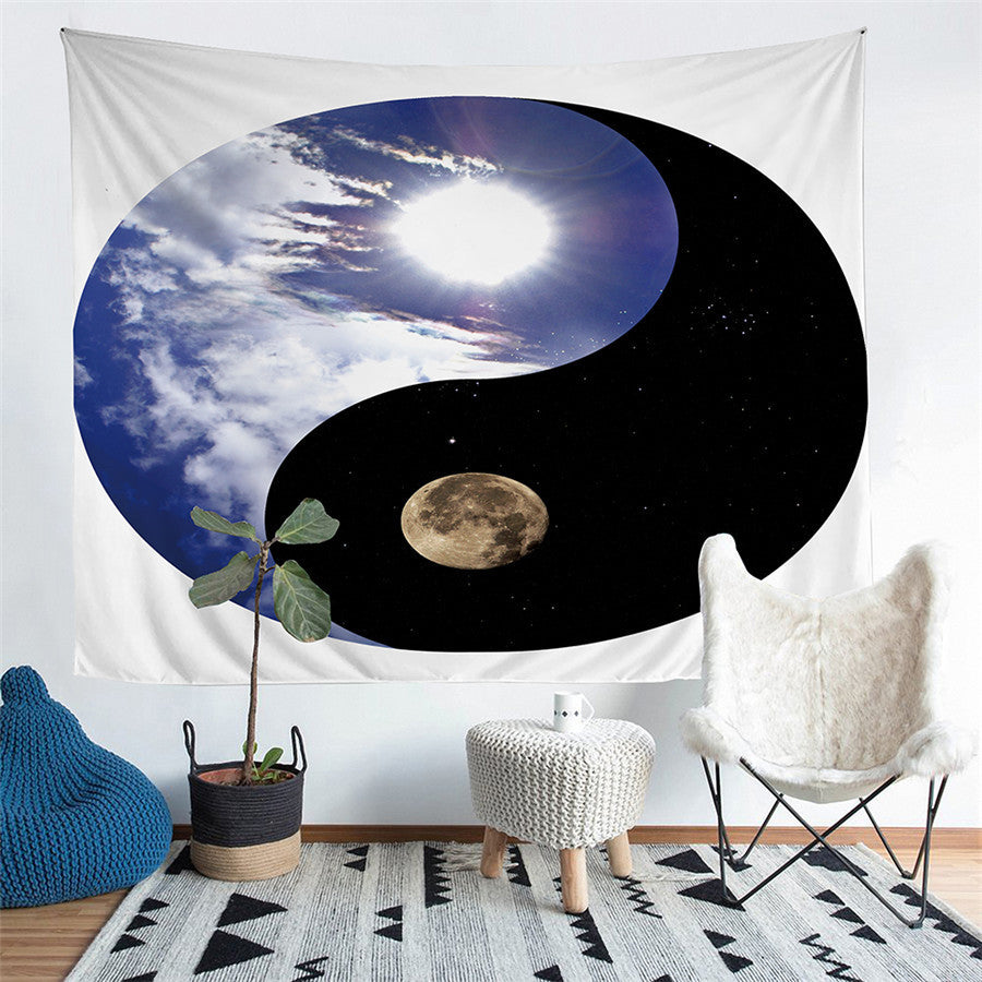 Day Vs. Night Yin-Yang Sky Print Wall Tapestry