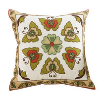 "18"" Embroidered Floral / Mandala Pattern Pillow Cover"