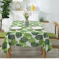 Green Palm Leaf Pattern Cotton Linen Tablecloth