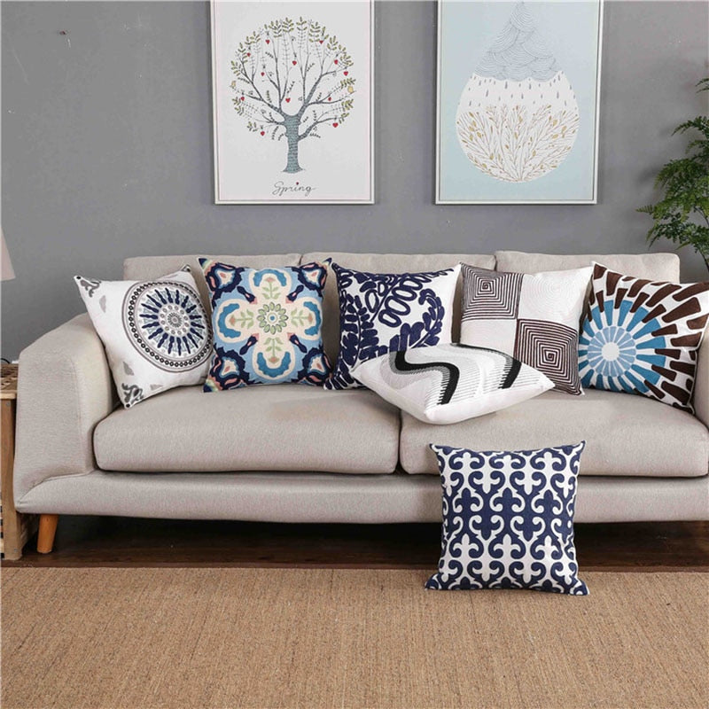 "18"" Contemporary Embroidered Throw Pillow Cover"