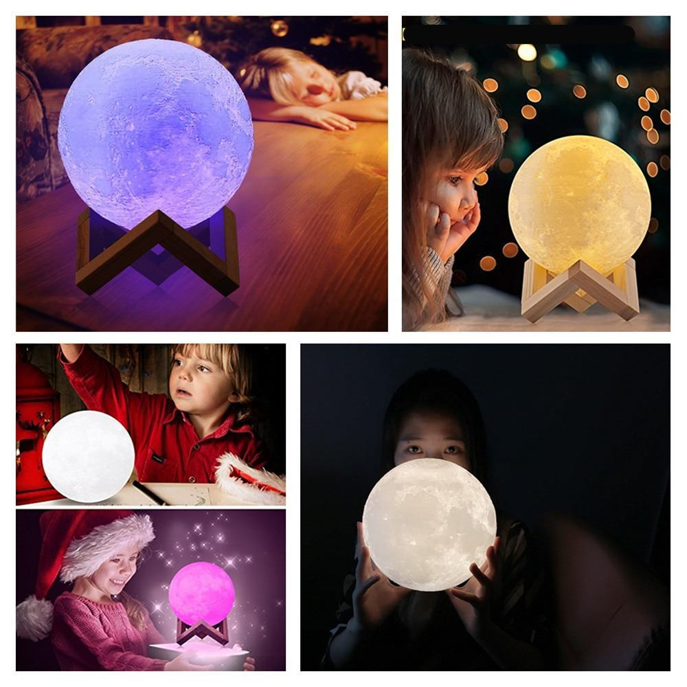 Multi-Color 3D LED Moon Lamp Night Light