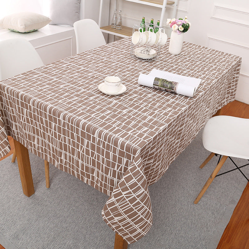 Brown Abstract Plaid Pattern Cotton Linen Tablecloth