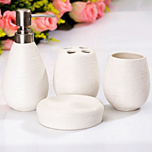 4-Piece Ribbed Ceramic Bathroom Accessory Set