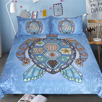 Light Blue 3-Piece Mandala Sea Turtle Duvet Cover Set