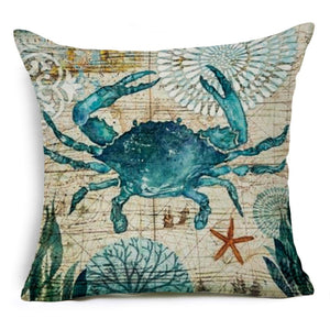 "18"" Mediterranean Sea Life Throw Pillow Cover"