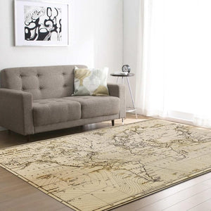 Vintage World Map Print Area Rug Floor Mat