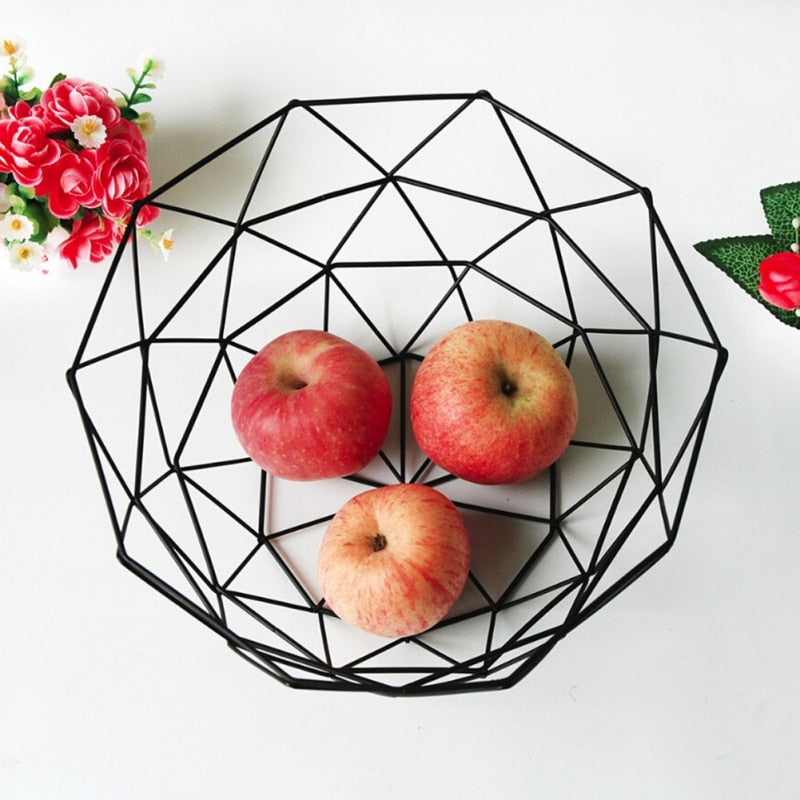 Black Geometric Metal Wire Fruit Basket Bowl