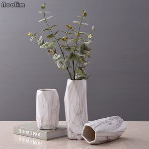 White Marble Ceramic Abstract Geometric Flower Vase