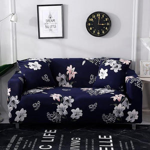 Blue & White Iris Floral Pattern Sofa Couch Cover