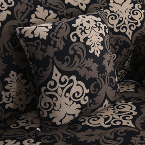 Black / Gold Floral Damask Pattern Sofa Couch Cover