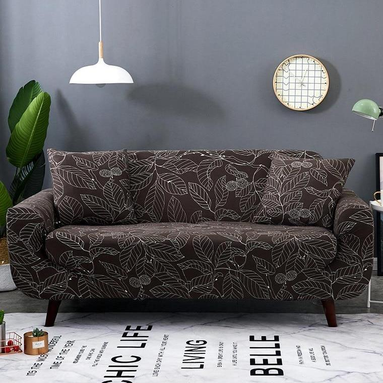 Dark Brown Leaf Pattern Sofa Couch Cover