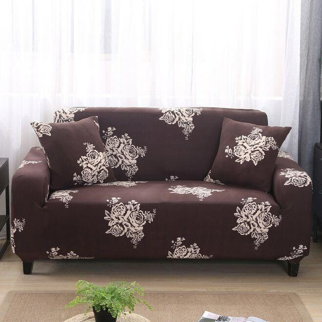 Brown Floral Rose Pattern Sofa Couch Cover