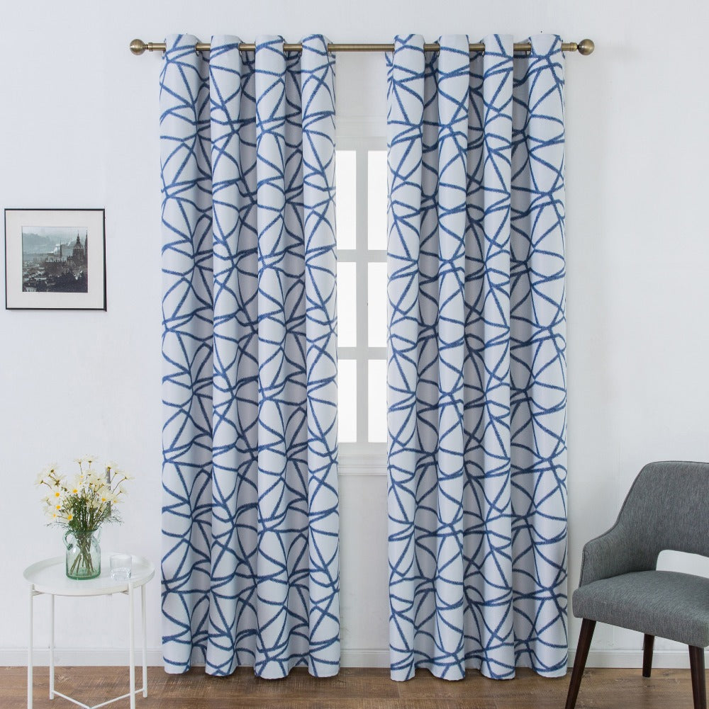 Geometric Striped Bird Nest Pattern Window Curtain